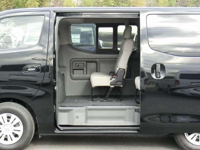 片側オートスライドドアです。スライドドアにオートクロージャー(半ドア防止機能)が装備されています。★市販されているNV350キャラバンワゴンに、両側スライドドアおよびディーゼル車の設定はありません。