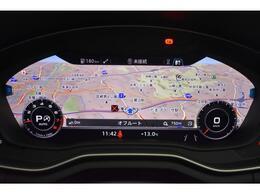 ●バーチャルコックピット『メーターパネル内に高解像度の12.3インチ液晶ディスプレイを配置。ディスプレイ内に地図が表示され、ナビゲーションの確認の際にドライバーは視線の移動を少なくすることができます