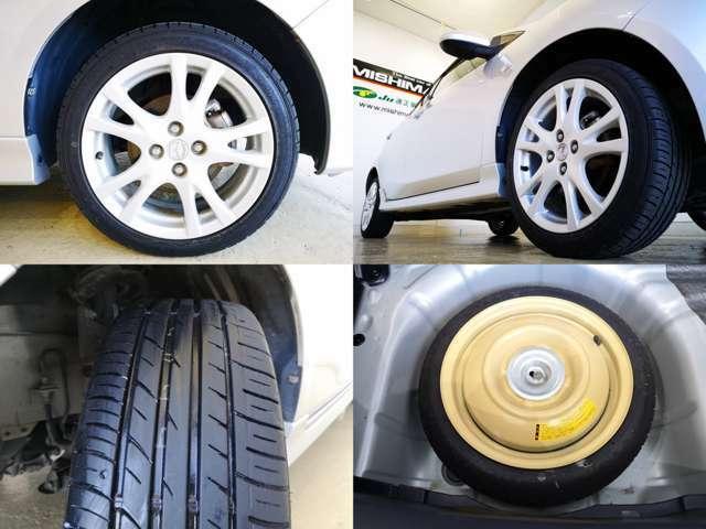 タイヤもバッチリですよ・・・パンク修理キットも良いですが もしもの時はスペアタイヤも・・・安心ですね