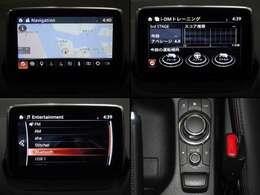 センターディスプレイにエンターテーメント機能を凝縮したマツダコネクト。Bluetooth・ハンズフリー電話等もできます。