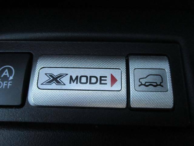 X-MODE。雪道や荒れた山道を登坂する場合などタイヤが空転する場面でもススイッチをONにしておけば制御が瞬時に介入、エンジン・ミッション・VDC等を統合制御しスムーズな脱出が可能です!