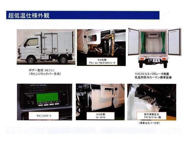 ボデー標準装備:90℃ストッパー(右側1箇所)、LED庫内ランプ、ハイマウントストップランプ、エアリブ、樹脂製スノコ、保冷カーテン、水抜き穴(前側1箇所)冷媒404