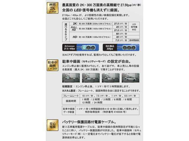 高画質の2K・300万画素の高精細でLED信号機も消えずに録画。駐車中録画の設定も自由に変更できます