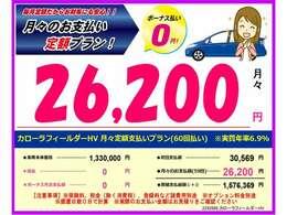 月々の定額プランでこんなにお得に乗れちゃいます♪月々抑えて乗りたいですよね!詳細はスタッフにご相談下さい♪ ※頭金なし 60回支払の際の車両価格の定額プランです。別途諸費用等掛かります。