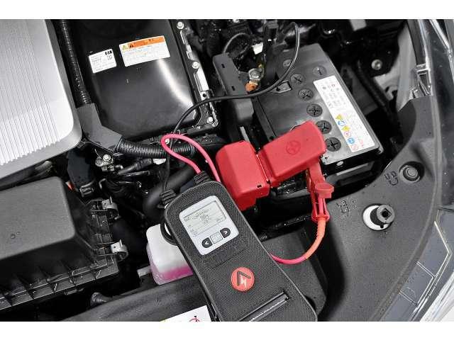 中古車で心配な部分の1つにバッテリーがございます。当店は全台チェックを行い、問題があるバッテリーは交換して納車します!データもお客様に開示します!充電量、健全性共に問題はありません。