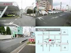 付近は一方通行の道路になっております(わかりにくくてスミマセン!)。赤いトヨタの看板と水戸芸術館・京成百貨店が目印です♪