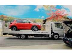 積載車も準備しております。万が一の故障や事故にも迅速に対応します。近年では県外のお客様にも多く納車させて頂いております.