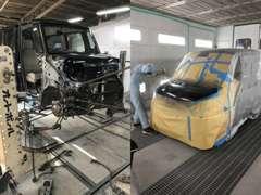 ☆鈑金塗装☆ フレーム修正機4基、塗装専用ブース1基を備え、突然の事故にも迅速に対応致します!!