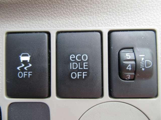 アイドル中の無駄な燃料消費を抑えるアイドリングストップ機能も装備!横滑り防止機能も装備!悪天候時の車両スリップ軽減に貢献します!