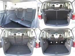 サードシートはヘッドクリアランスもあり窮屈感感じません。可倒し収納すればフラットな広々荷室に♪セカンドシートはデタッチャブル簡単に取り外しが可能ですので、シーンに合わせて様々なアレンジが可能です