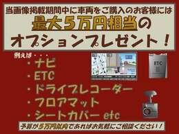 【期間限定ご成約特典】2020年11月21日~2020年12月25日までに当車輌をご成約いただいたお客様に5万円相当のオプションをプレゼント!詳しくはスタッフまで。