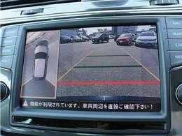 フロント、左右サイド、リヤの4台のカメラにより、車両を上空から見下ろしているような合成画像をディスプレイに表示し駐車をサポートします。