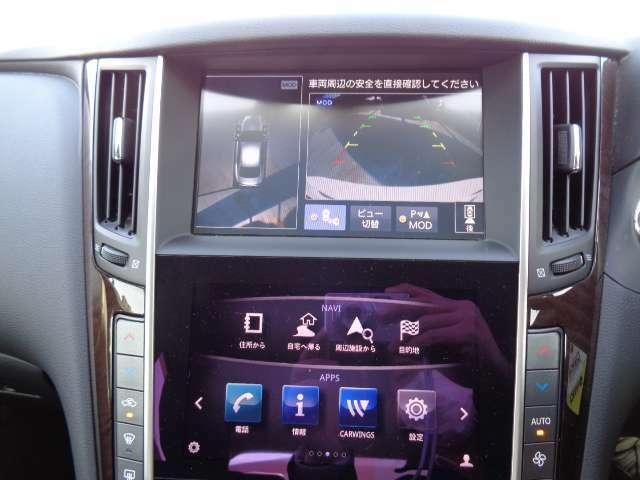 アラウンドビューモニターはカメラで真上から車を見たようにモニターで確認ができます。周辺の安全確認、小さなお子様や障害物も目視で確認できるので駐車のしやすさだけでなく、事故防止にも役立ちます
