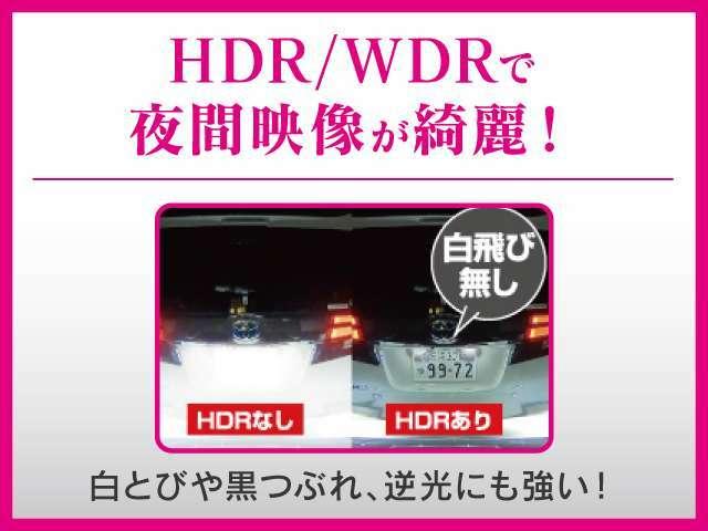 白飛びや黒潰れ、逆光にも強いHDR/WDRで夜間の映像もキレイです。