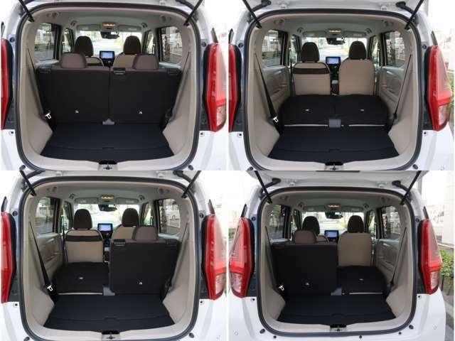 後部座席は分割で背もたれを倒す事が可能で大きな荷物もしっかり対応可能です。(ロングスライド機能もございます)