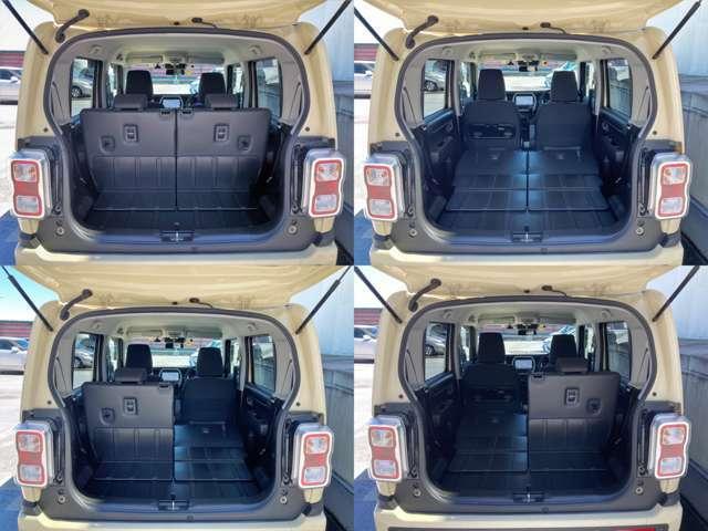 リヤシートはフルフラットになります。荷室は樹脂製の素材なので汚れたら拭けるし丈夫なので便利♪下部にも収納スペースが現れます。