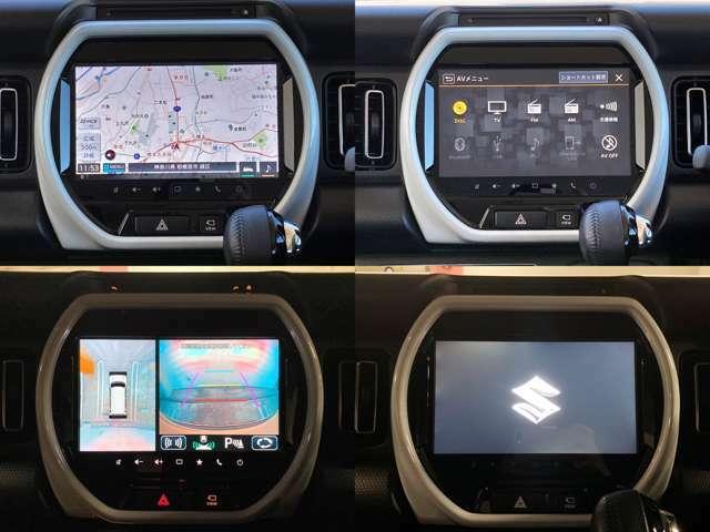 全方位モニターで駐車をアシスト♪ナビゲーションはスズキ純正9インチだから、とにかく見やすい!フルセグTV視聴やDVD再生、Bluetooth接続もOKです☆