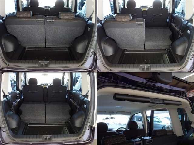 リヤシートをたためば広い荷室に早変わり。お出かけやお買い物にも便利な車です。