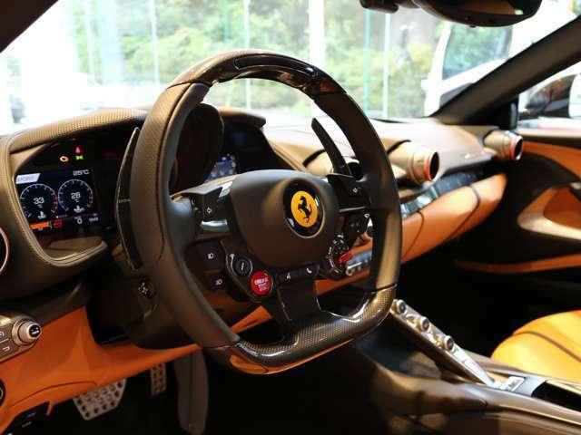 人気のオプションのカーボン・ファイバー・ドライバー・ゾーン+LEDステアリングです。