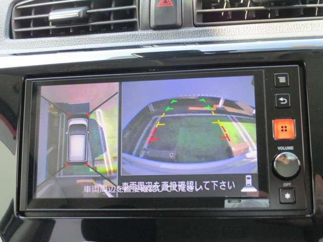 アラウンドビューモニター搭載。上から見下ろしたように液晶に映るのでスムーズな駐車をサポートします。