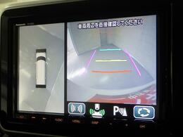 前後左右4つのカメラを装備。ナビ画面で映像の確認ができ 駐車をサポートします。