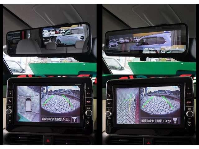 メーカーオプション先進快適PKにて 車両後方の視認性を高めてくれる デジタルルームミラー(マルチアラウンドモニター表示機能)が付いてます。又ナビの大きなディスプレイにマルチアラウンドの画像映ります。