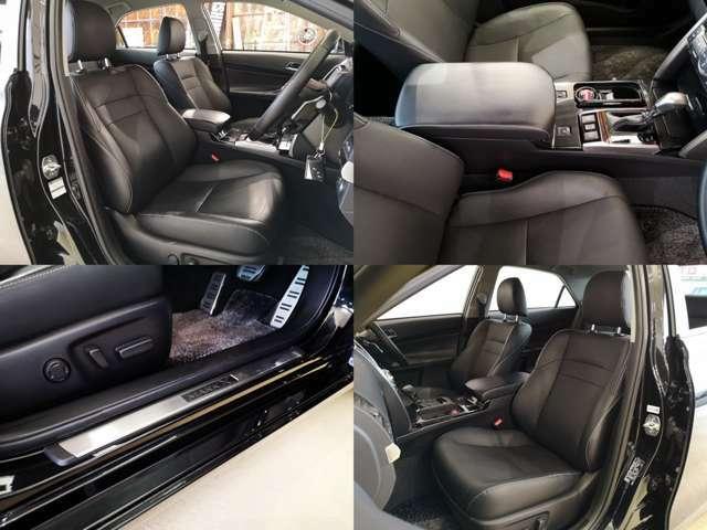 メーカーオプション 本革シート装備 シートヒーター や左右パワーシートなど 快適度も増してますよ・・・黒革のコンディションも良いです