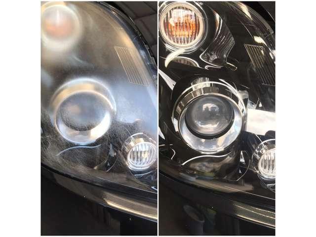 Bプラン画像:左が施工前、右が施工後。くすんでいたヘッドライトが見事に透明感全開の状態に復活!これは、やっぱりやるしかないでしょ(笑)