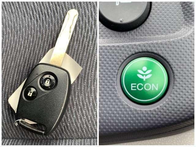 キーレス装備車☆暗くなっても鍵穴を探す必要がなく、鍵穴まわりも傷つくことなく、とても便利ですので人気の装備です!!燃費の良い運転を支援するECONモードも装備しています^^