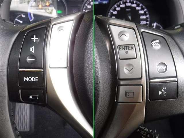 ステアリングスイッチでオーディオの各種設定や音量調整、メーター内画面表示の切り替えなどの操作ができます。
