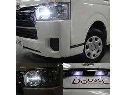 社外LEDヘッドライト・LEDポジション球・LEDナンバー灯も装備です。