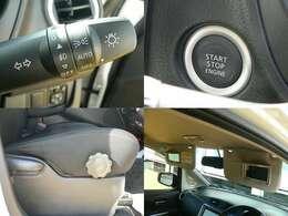 リヤビューモニター付ルームミラーです。シフトレバーをRにすると、車両後方の映像をルームミラーに表示、後退時のステアリング操作の目安となるラインも表示し、駐車のサポートをします。