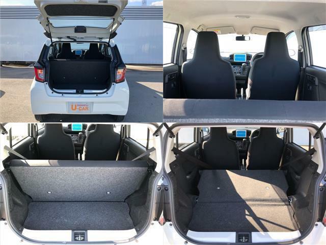 バックドアは跳ね上げ式!リヤシートの背もたれは、左右一体式で簡単に倒せます!荷室がさらに広くなりますね★