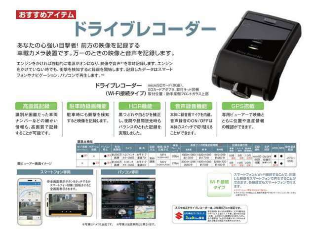 Aプラン画像:あなたの心強い目撃者!ドライブレコーダー。エンジン始動後自動的に電源がオンに!映像や音声を常時記録します。エンジンをかけていない時でも衝撃を検知すると録画開始。録画したデータはスマホ、パソコンで再生可能