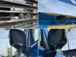 フロントグリル、ドアミラー、バックドアにカメラが付いています☆駐車の時にナビ画面で自車位置を確認できますよ☆車はどの位置?障害物はないかな?など確認ができて安心(ナビはスタッフがご提案させて頂きます)
