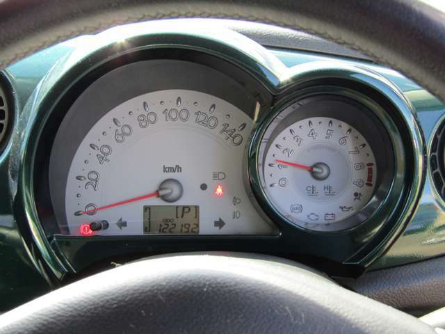 ホワイトメーター:左側速度計:エンジン回転数計:と並びます。