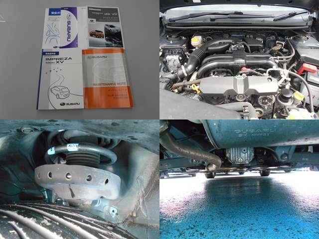 新車整備手帳、取扱説明書等もしっかり残っています!経年劣化によるエンジンルームや足回り、下回りの錆が多少みられる状態です!当店にて車検時には下回りは洗浄&錆止め塗装を施工してお届けいたします!