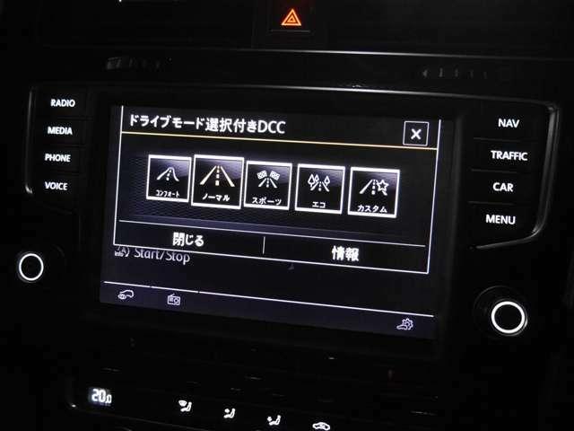 オプションのDCC(アダプティブ・シャシー・コントロール)装備なので5つの走行モードが選べます。