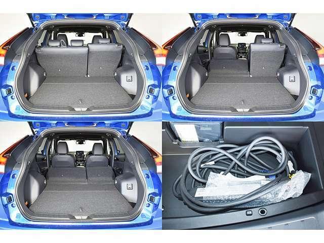 リヤシートを分割して倒せますので、工夫次第で色々な荷物が積めます。電遮断機能や充電状況を常に監視・表示するコントロールボックスが装備された充電ケーブルを付属しています!