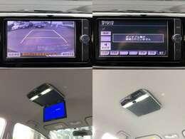【左上&右上】フルセグ地デジ、バックカメラ、音楽再生、DVD再生、DS連動、BTオーディオなど機能満載で人気の、純正SDナビTV  【左下&右下】LEDルームランプ搭載・フリップダウンモニター