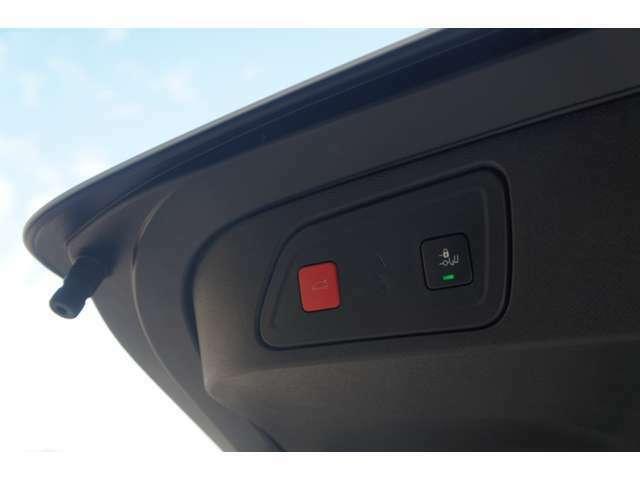 ハンズフリー機能付きの電動テールゲート。閉める際は安全のために、スイッチ操作となります。