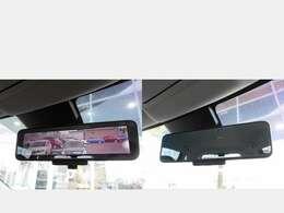 スマートルームミラーはルームミラーに液晶モニターを搭載し、人や物で視界を遮られたり、天候によって後方をクリアに確認できない場合にも後方のカメラの映像を写します。通常のルームミラーにも切り替え出来ます。