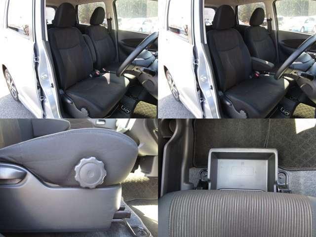 フロントシート センターアームレスト付で、運転席にはシートリフター(シート上下調整)機能が付いています。 助手席はアンダーボックス付です。 シート類も問題無し