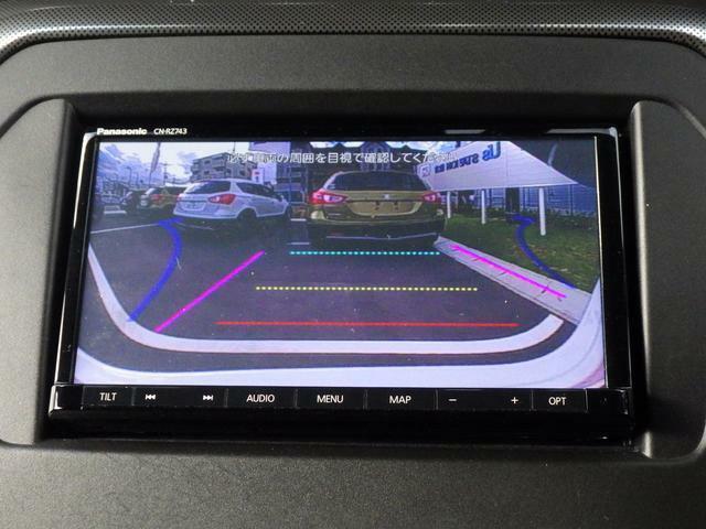 バックカメラを装備しています。サイドミラーだけでは見えにくい 車両の真後ろをナビ画面で確認できます。ガイドラインがあり、駐車をサポートします。