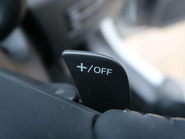 パドルシフトも装備しておりますので、普段より少し爽快な運転をしてみたいときにお楽しみいただけます。ぜひ一度は使ってみたいですね。