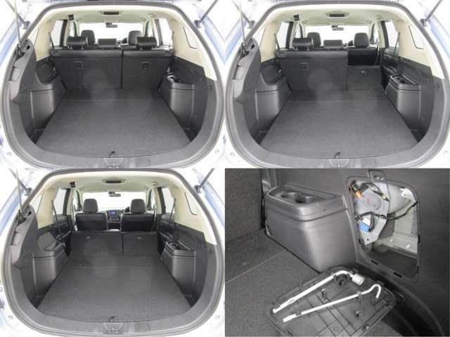 広々室内で車中泊などにも!6:4分割可倒式リヤシート パンク修理キット/ジャッキ 充電ケーブル