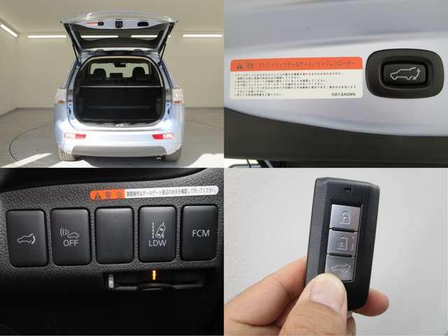 セーフティ機能付きエレクトリックテールゲートは、運転席からのスイッチ機能やリモコンキーで自動開閉が可能です。障害物に当たると反転する安全機能もついております。キーでの操作も可能です。