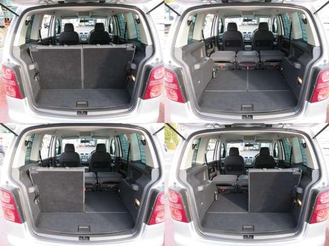 アレンジ色々♪ラゲッジスペース♪トノカバーは取り外し可能です♪また、サードシート・セカンドシート共に倒すことができますので、用途に合わせて使い分けができ、便利です♪