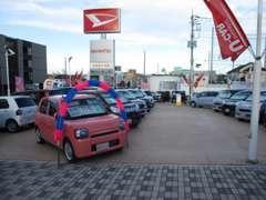 最大70台の人気の中古車を取り揃えております!広々展示場で是非お気に入りの1台をお見つけください!