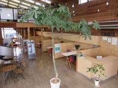 ログハウス風木造建築にてモダンな造りになっております。緑あふれる当店に一度といわず何度でもご来店下さい。